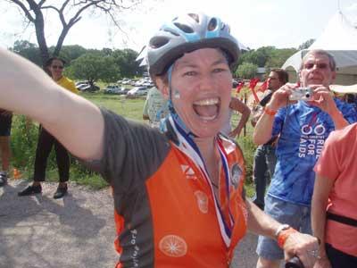 Sara crosses the finish line
